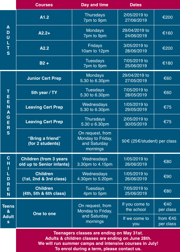 pricing timetable spring term 2019