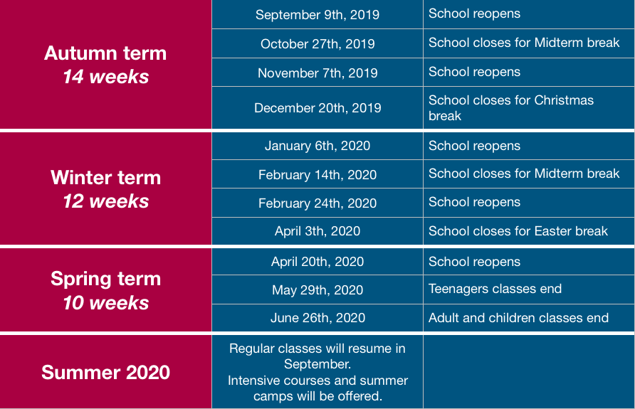 School calendar 2019 2020 French classes